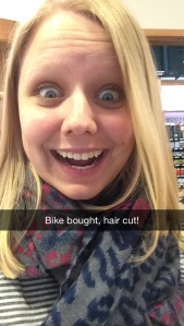 Katie Looking Forward Bike Bought Haircut