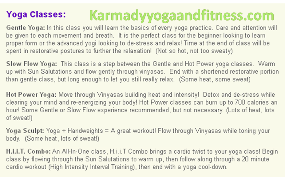 Karmady Yoga Class Description