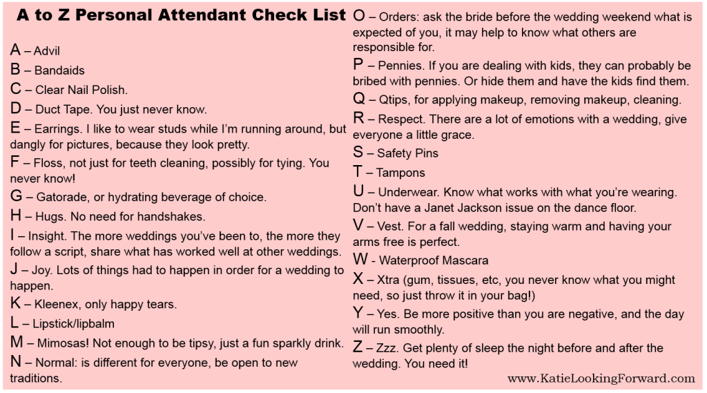 A to Z list for Personal Attendants